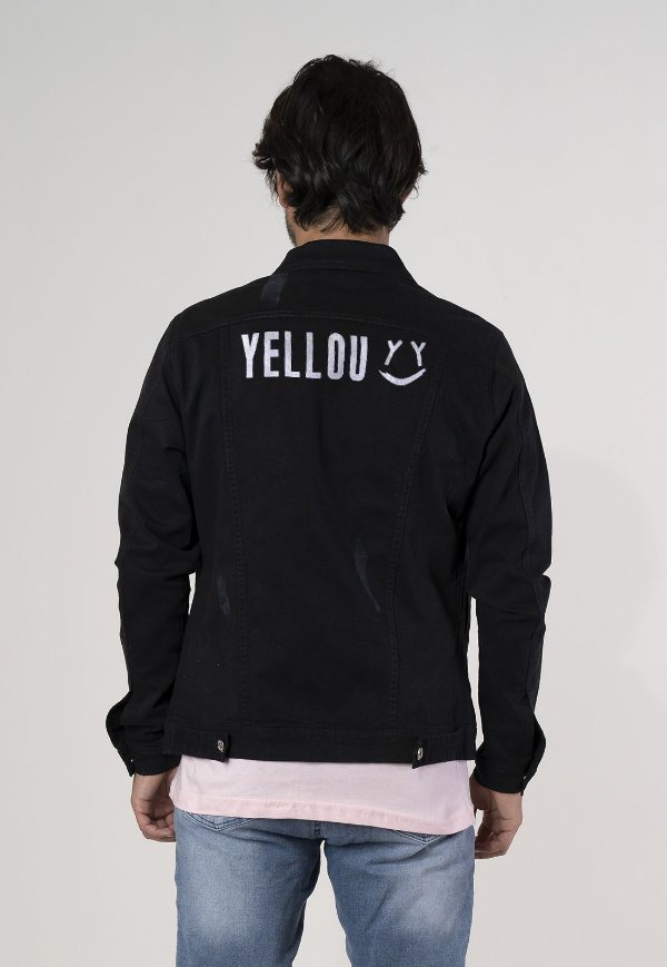 Jaqueta jeans preta estampada Yellou Street