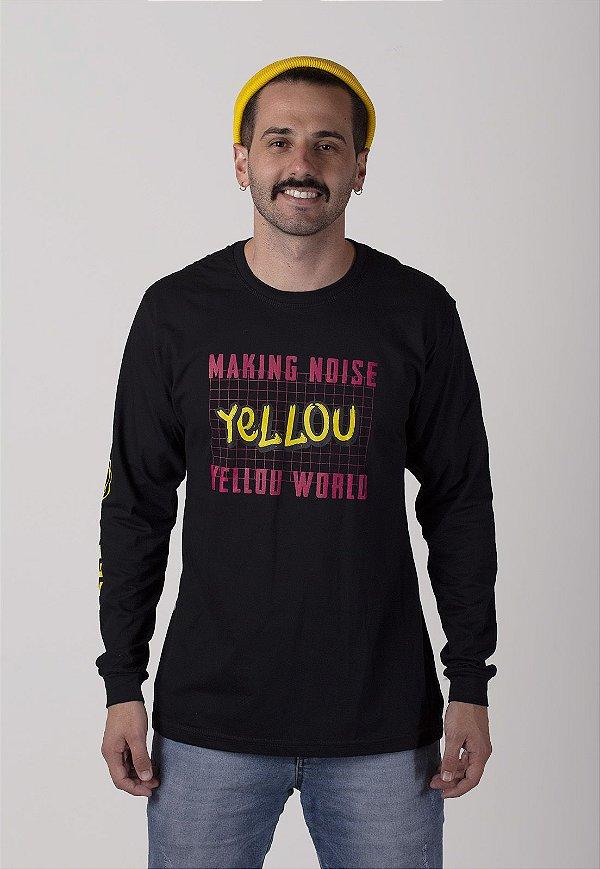 Camiseta Yellou Manga Longa Preta
