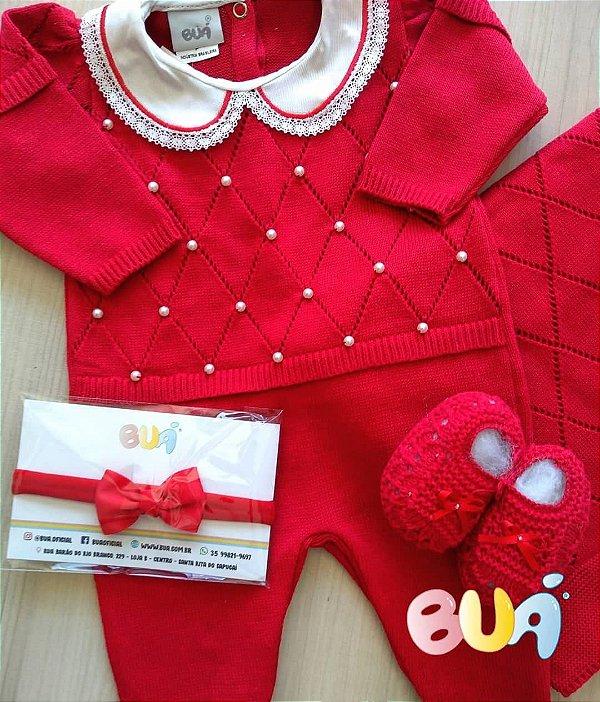 Saída Maternidade Feminina Tricot - Vermelho - 02 Peças
