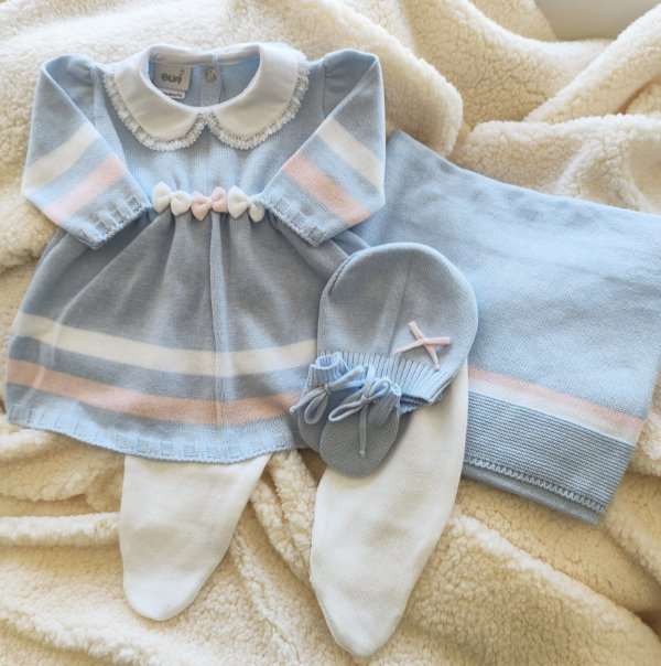 Saída Maternidade Tricot Feminina - Celeste com Rosa bebe cód.9823S