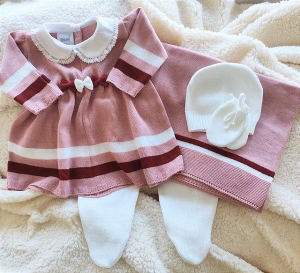 Saída Maternidade Tricot Feminina - rosaold02 cód.9823S