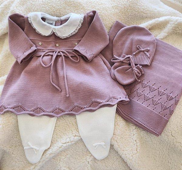 Saída Maternidade Tricot Feminina - Rosa Old / Branco cód.9378S