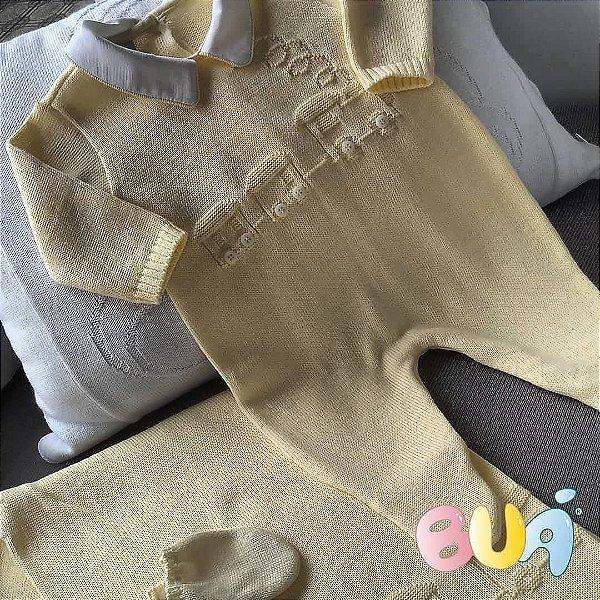 Saída Maternidade Masculina Tricot - Amarelo - 02 Peças