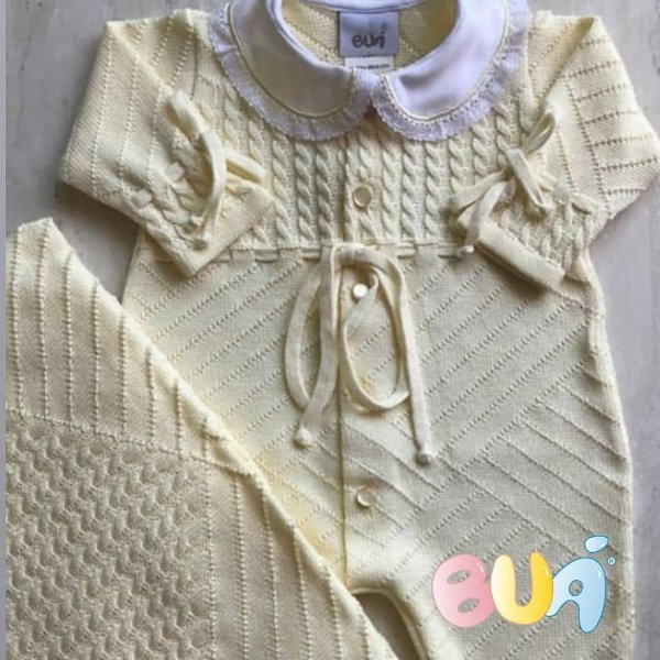 Saída Maternidade Feminina Tricot - Amarelo - 02 Peças