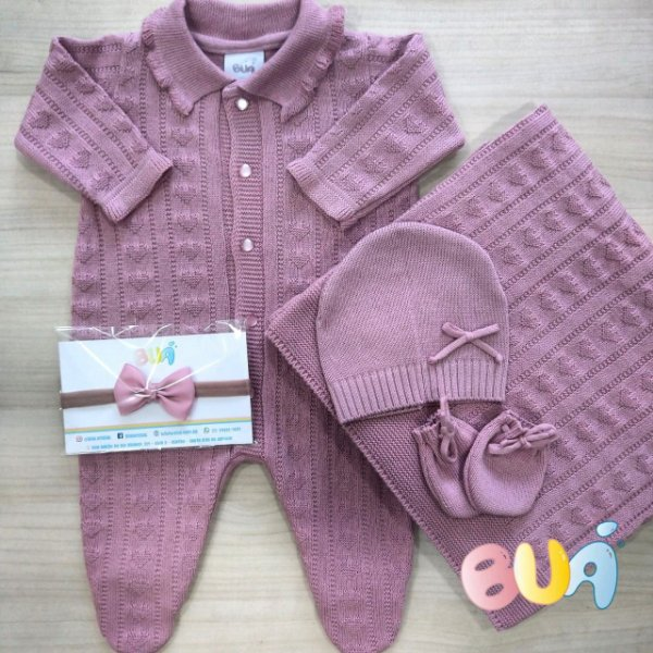 Saída Maternidade Feminino Tricot - Rosa Old - 02 Peças