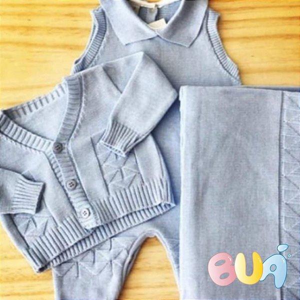 Saída Maternidade Masculina Tricot - Azul Bebê - 03 Peças