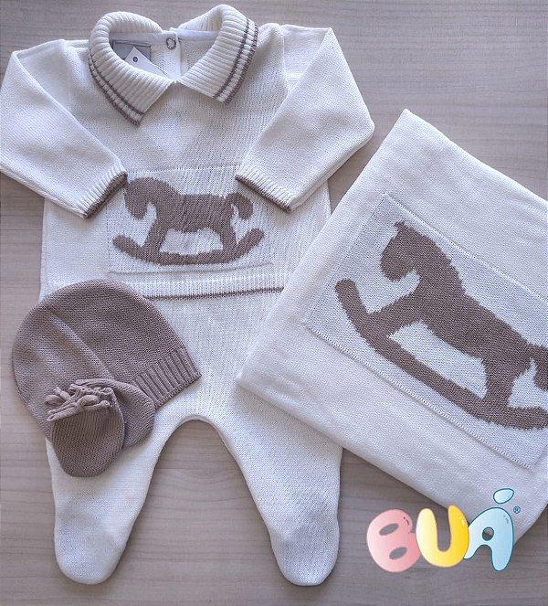 Saída Maternidade Masculina Tricot - Off White / Marrom - 02 Peças