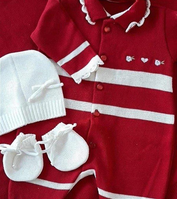 Saída Maternidade Feminina Tricot - Vermelho / Branco - 02 Peças