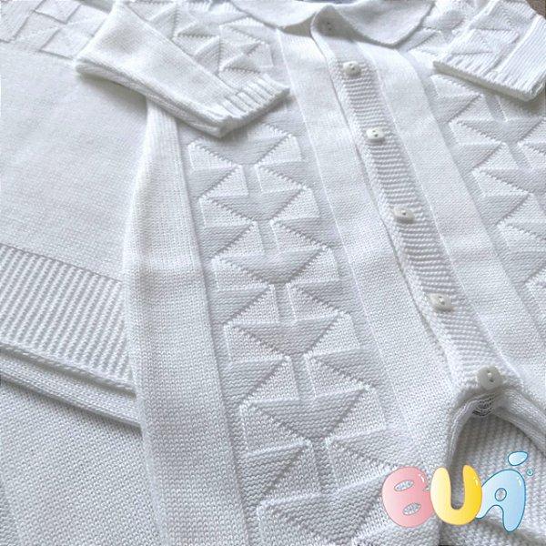 Saída Maternidade Masculina Tricot - Branco - 02 Peças