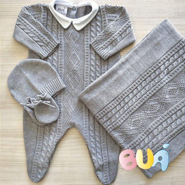 Saída Maternidade Masculina tricot - Cinza - 02 Peças