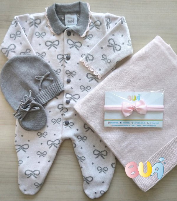 Saída Maternidade Feminina Tricot - Rosa Bebê / Cinza - 02 Peças