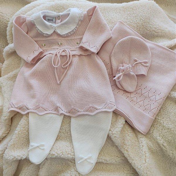 Saída Maternidade Tricot Feminina - Rosa Bebê / Branco cód.9378S