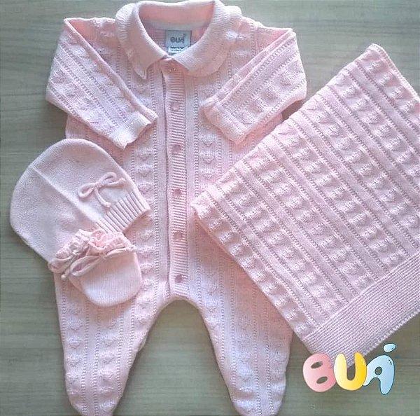 Saída Maternidade Feminino Tricot - Rosa Bebê - 02 Peças