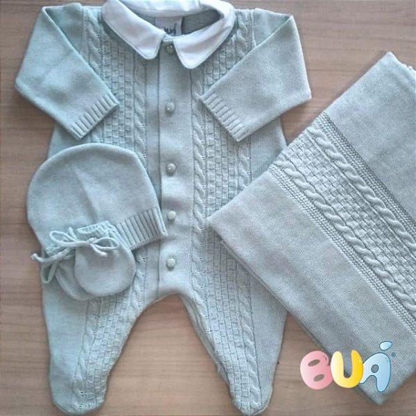 Saída Maternidade Masculina Tricot - Verde Pó - 02 Peças