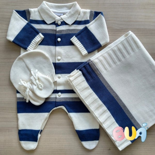 Saida Maternidade Masculina - Off White / Azul Jeans - 02 Peças