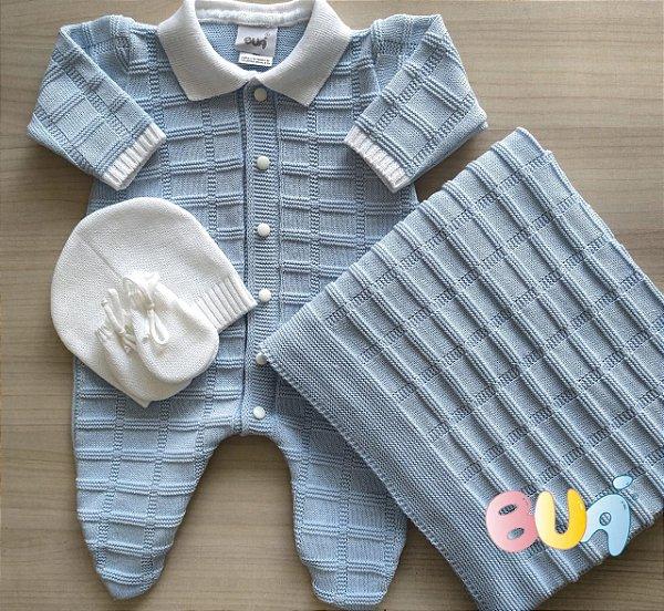 Saída Maternidade Masculina Tricot - Azul Bebê - 02 Peças