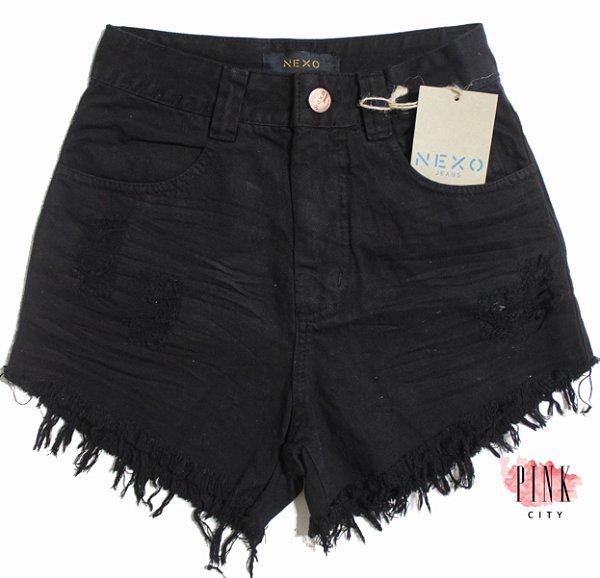 a8587d570 Shorts Cintura Alta Hot Pants Preto - Nexo Jeans - Pink City