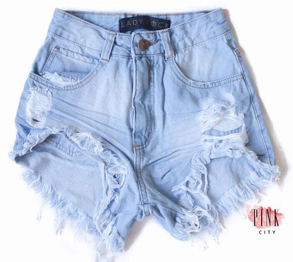 cca31b8c4 Shorts Cintura Alta Hot Pants Jeans - Lady Rock