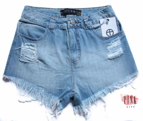 a7fe3967e Shorts Cintura Alta Hot Pants Jeans - Lady Rock - Pink City
