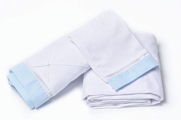 Jogo de Lençol Mini Berço 3 Peças Malha 100% Algodão Branco / Azul Claro