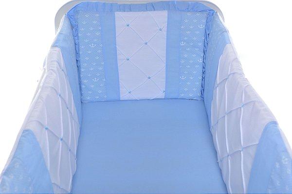 Kit Mini Berço Canaã 7 peças Azul 100% Algodão