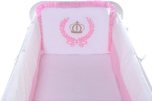 Kit Mini Berço Carinhoso Coroa 9 peças Branco/Rosa