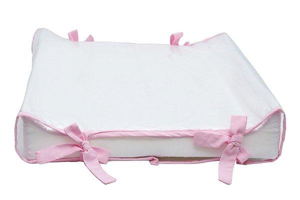 Kit Trocador Americano Branco/Rosa Bebê + Almofada Amamentação Combinando