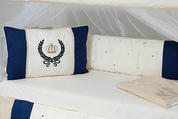 Kit Berço Majestade Coroa Azul Marinho 10 Peças