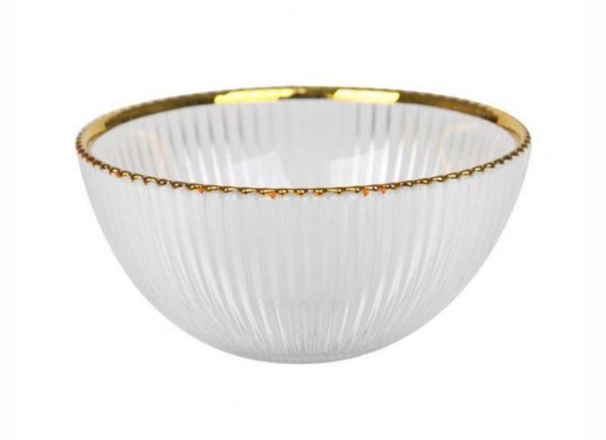 Bowl de Vidro com Fio Dourado