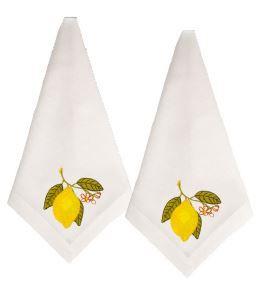 Guardanapo Branco Bordado Limão Siciliano