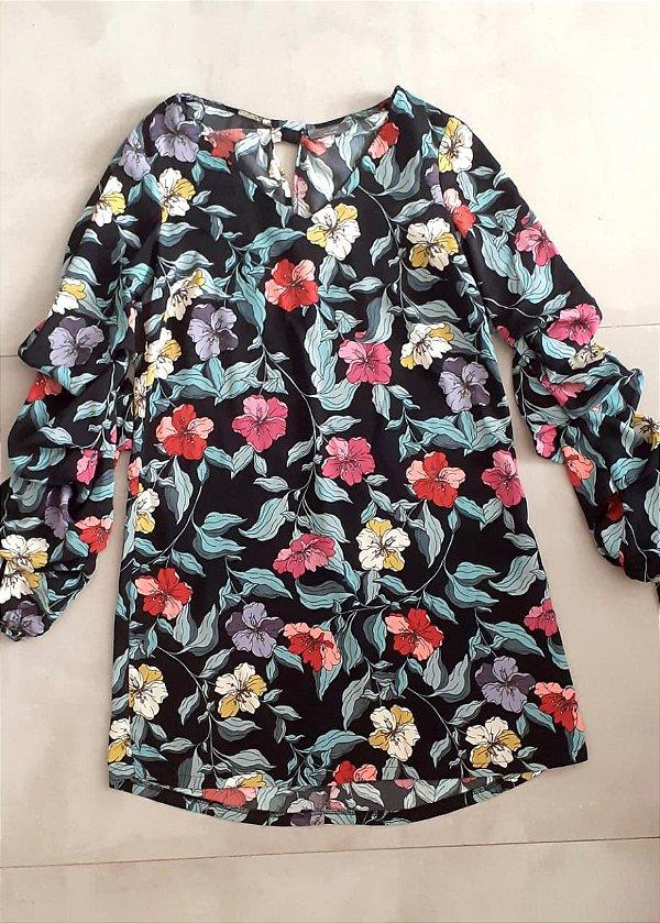 vestido manga floral