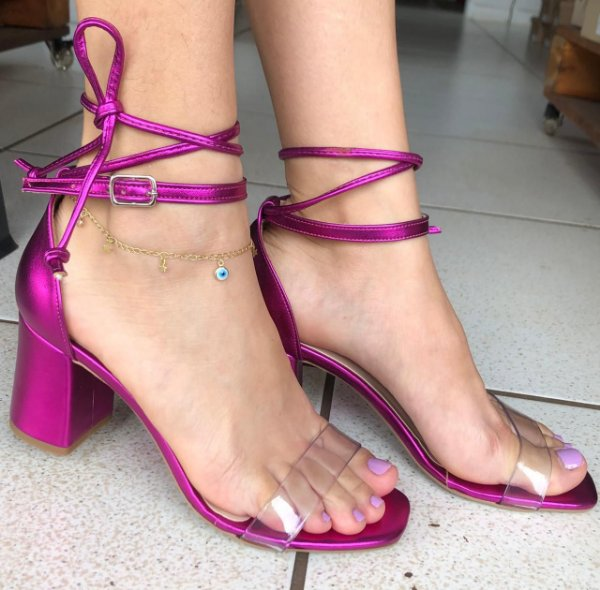Sandália Salto Alto Bloco