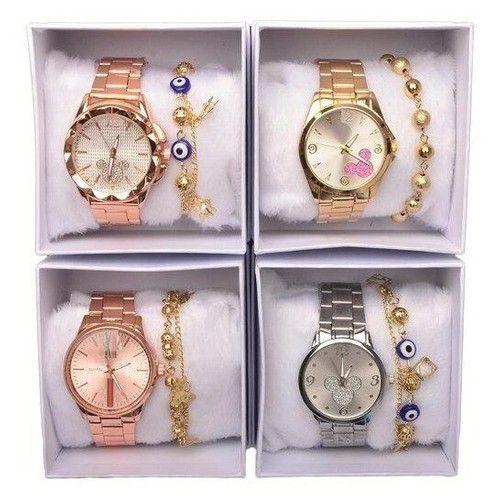 Kit C/ 2 Relógios Femininos + Caixa+ Pulseiras SORTIDOS