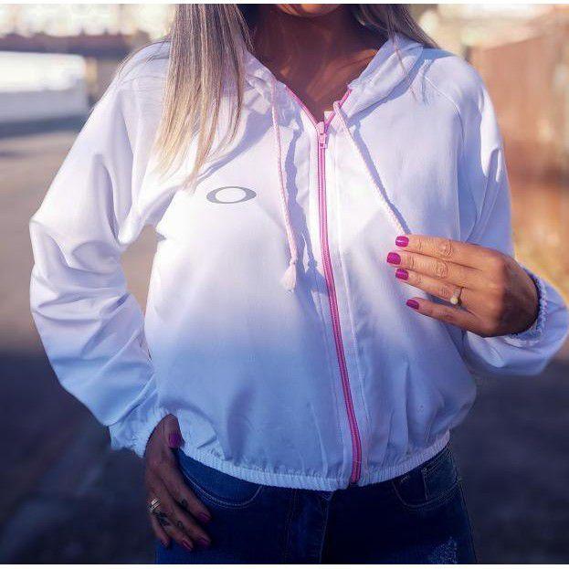 Jaqueta + 1 GRÁTIS SORTIDA Blusa Corta vento Cropped  Adidas/Oakley Branco Refletiva