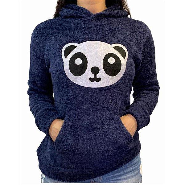Kit com 2 blusas de frio SORTIDAS feminina de panda manga longa pelúcia grossa estilosa confortável inverno tendência blogueiras