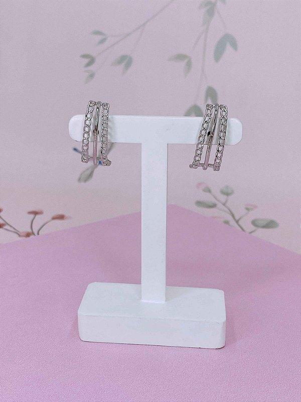 Brinco Ear Hook com mini correntes - prata ou dourado