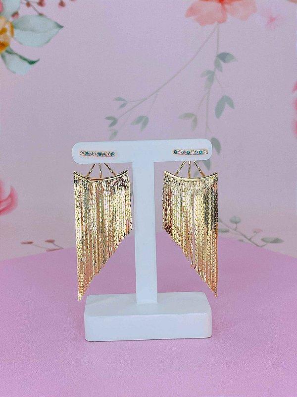 Brinco de franja com detalhes em mini pedrinhas coloridas Semi jóia- prata ou dourado