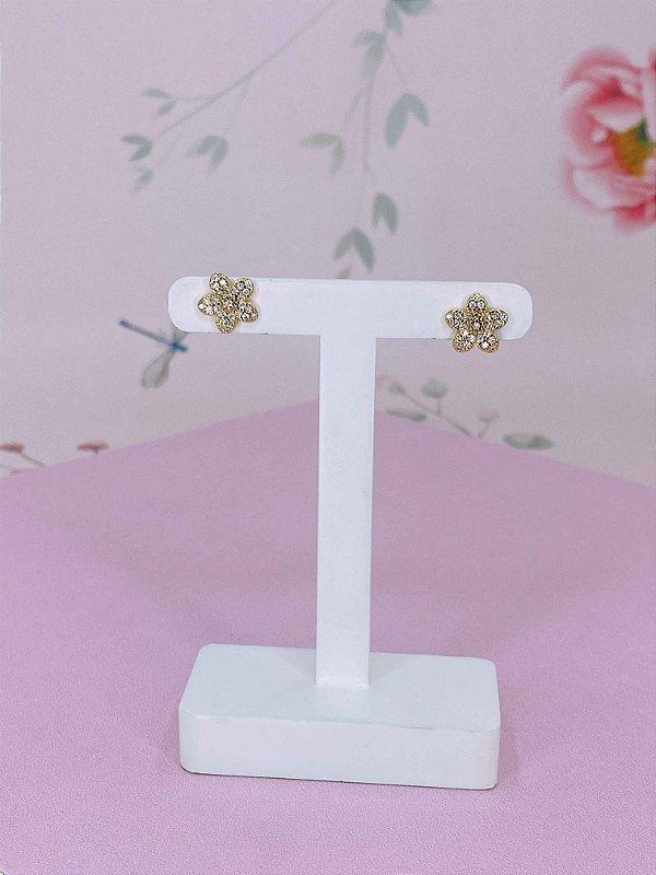 Brinco Flor dourada com mini strass branco