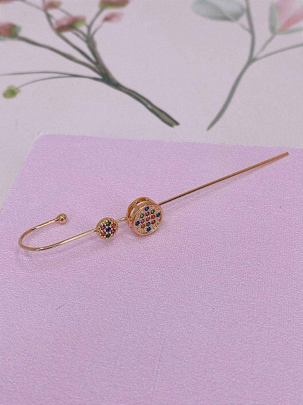 Brinco Ear cuff Bengala dourado com círculo e mini pedrinhas - colorido ou branco