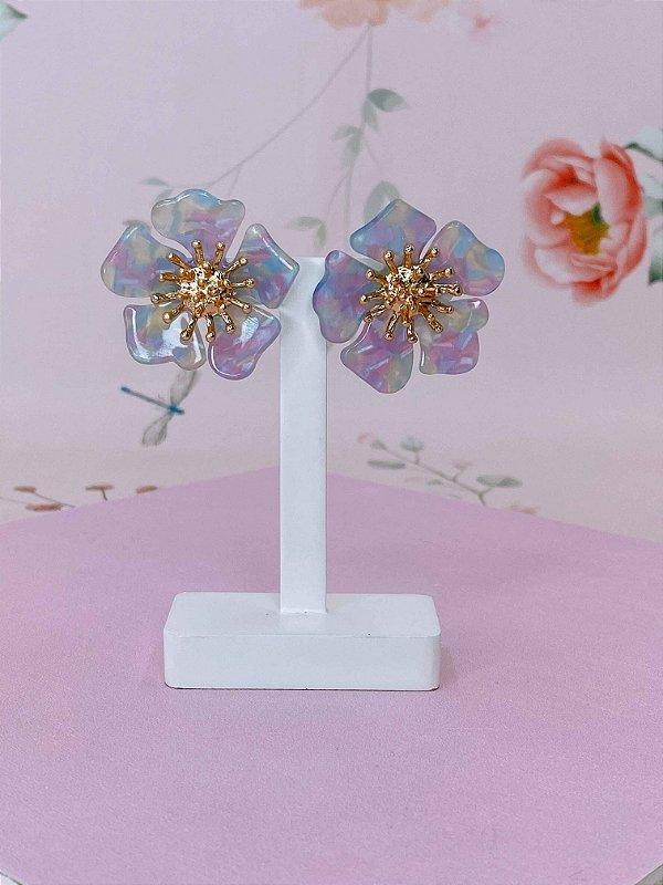 Brinco Flor de acrílico com dourado - rosê , laranja, verde tiffany, branco ou colorido