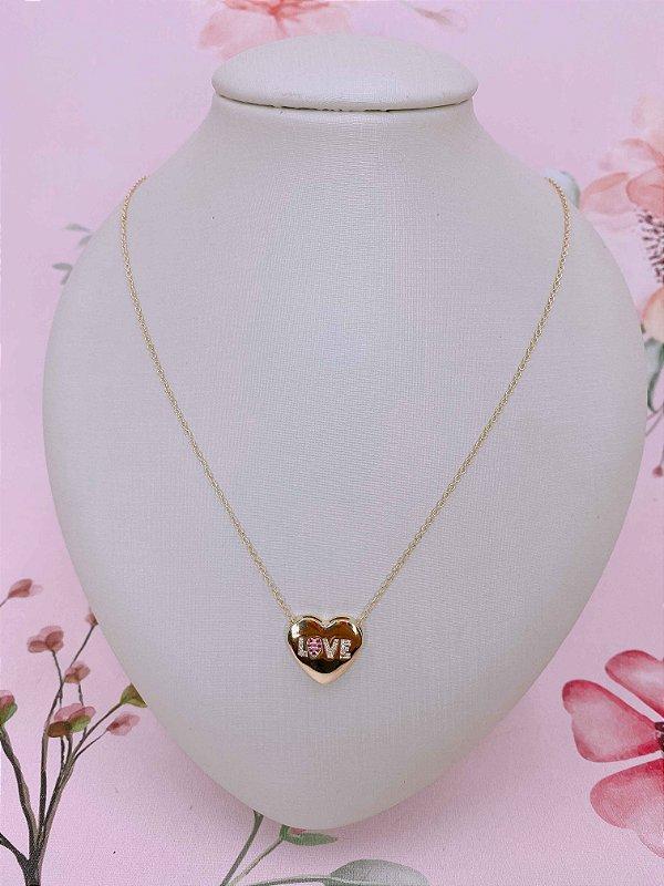 Colar fininho com pingente de coração escrito love com zircônia- prata ou dourado