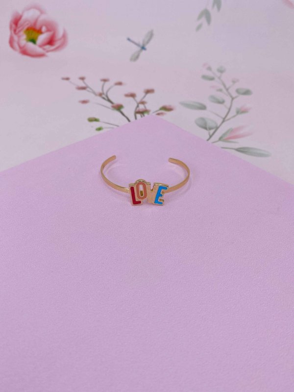 Bracelete dourado Love colorido