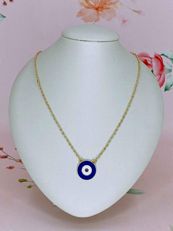 Colar dourado com Olho Grego esmaltado em azul,branco e preto