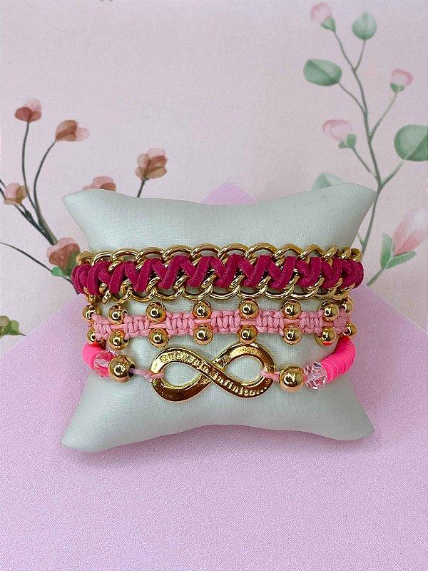 Kit de pulseiras rosa trançadas e com símbolo do infinito