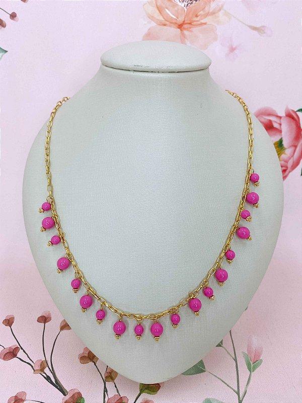 Colar dourado com bolinhas - rosa ou verde