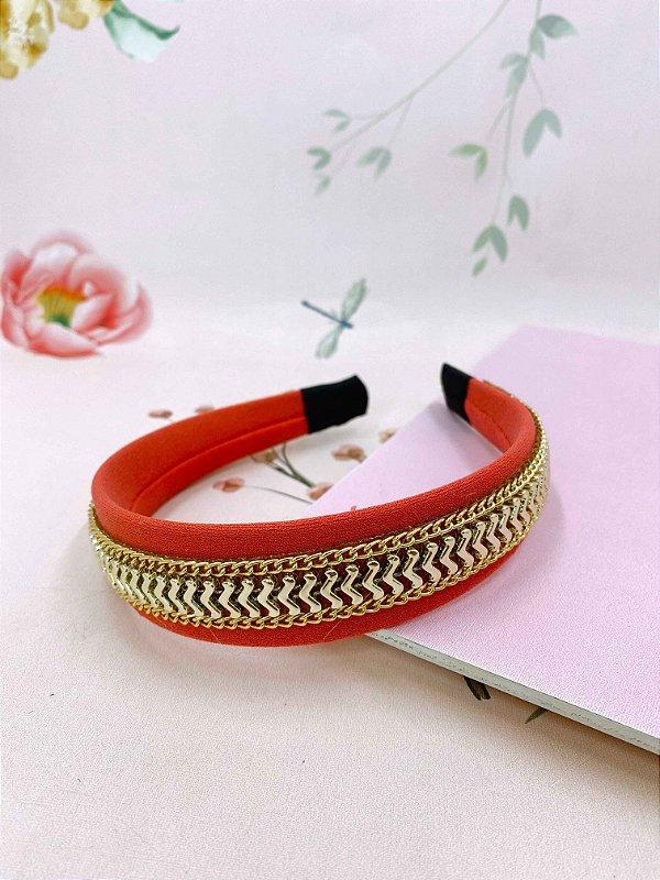 Arco tecido Liso com corrente e setas douradas - coral, laranja ou fúcsia