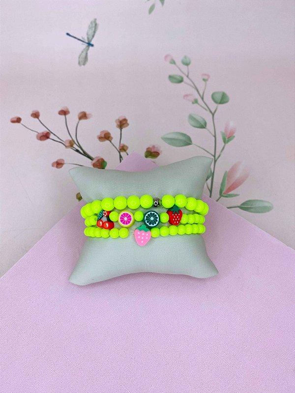 Pulseira bolinhas neon com frutinhas - verde neon, fúcsia, rosa neon ou amarelo neon