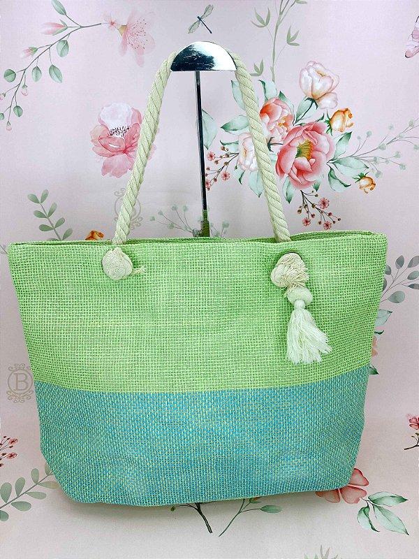 Bolsa praia verde com azul e chaveiro tassel