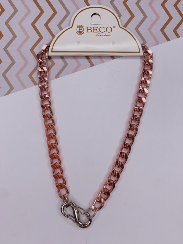 Corrente rosa ou lilás com mosquetão prata