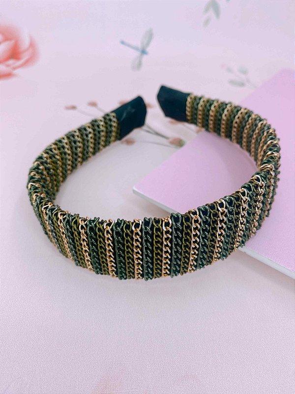 Arco  largo de correntes fina dourado , bronze e verde